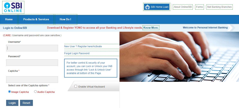 SBI Net Banking login page